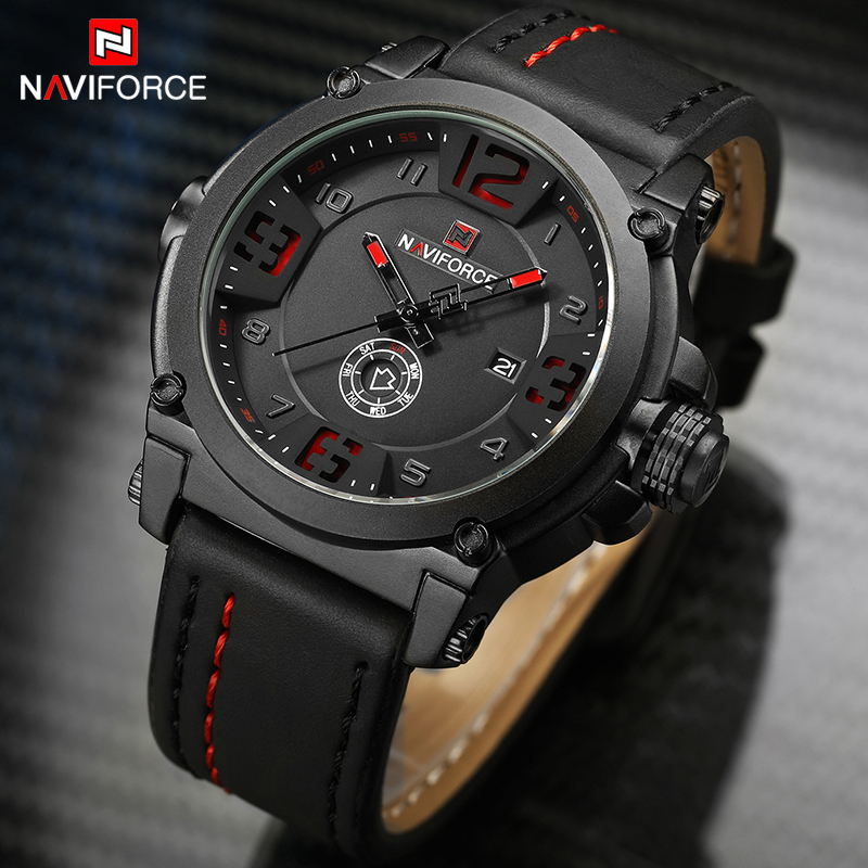 Mens Watches NAVIFORCE Top Luxury Brand Men Leather Analog Quartz Date Clock Man Waterproof Sports Army Military Wrist Watch
