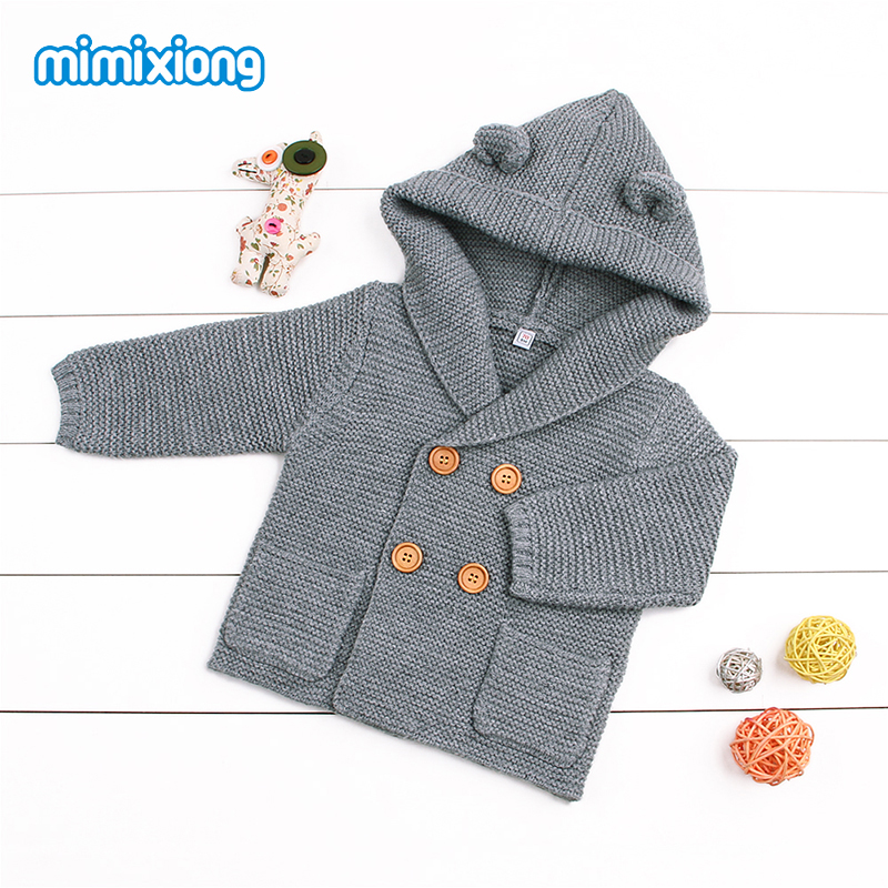 Baby Boy Knitting Cardigan Winter Toddler Girls Sweaters Tops 2017 Autumn Kids Jacket Grey Long Sleeve Hooded Coat 0-24M Fashion sirdar snuggly double knitting baby cardigan pattern