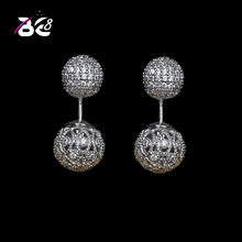 Be8 Brand Small Ball Shape Stud Earring With Sparkling Cubic Zirconia Pave Bridal Jewelry Girls Accessories For Party Gift E-332 be8 brand top quality cubic zirconia pave flower shape fashion jewelry stud earring for women rose gold color elegant gift e 215