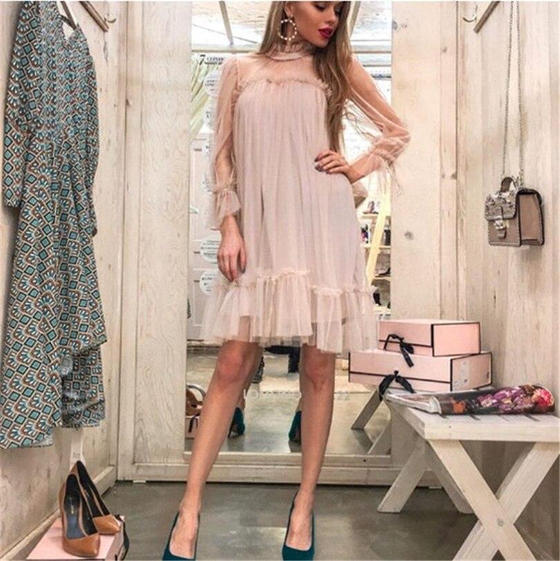 Robe d'été réel Polyester maille lâche solide plein volants genou longueur femmes robe 2018 été nouveau Net fil Lotus feuille femme