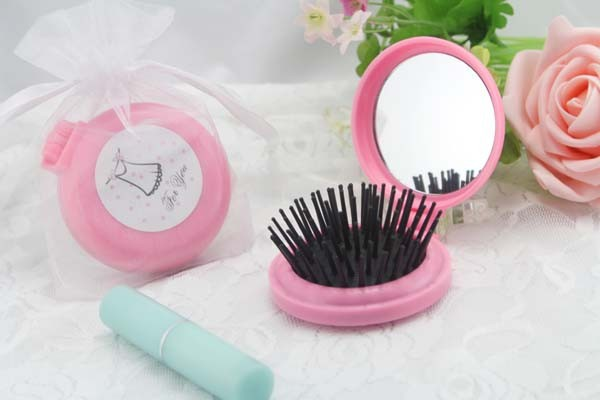 Ensemble de peigne miroir Portable en plastique rose ou blanc meilleur cadeau de mariage et faveurs de douche nuptiale 12 ensembles/lot livraison express gratuite