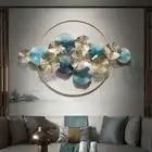 Moderno hierro forjado colgante de pared de forma redonda artesanía decoración del hogar sala de estar 3D pegatina de pared sofá Fondo mural metálico Decoración