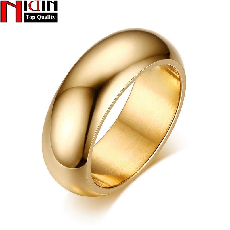 Nidin Мода 2017 г. простой покрытие вакуум 5 цветов выбор гладкой Мужские кольца 7 мм Ширина личные Кольца изысканные вечерние украшения