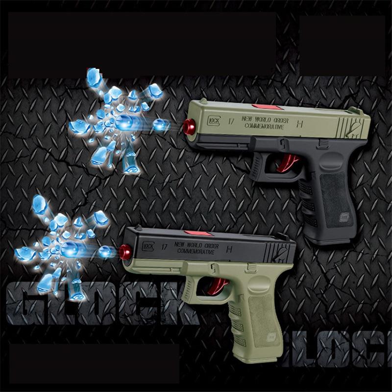 2pcs Outdoor Toys Plastic Pistol Gun Glock Manual Water Bullets Air Airgun Gel Ball Bead Gun Sniper Boys Toy Birthday Gifts