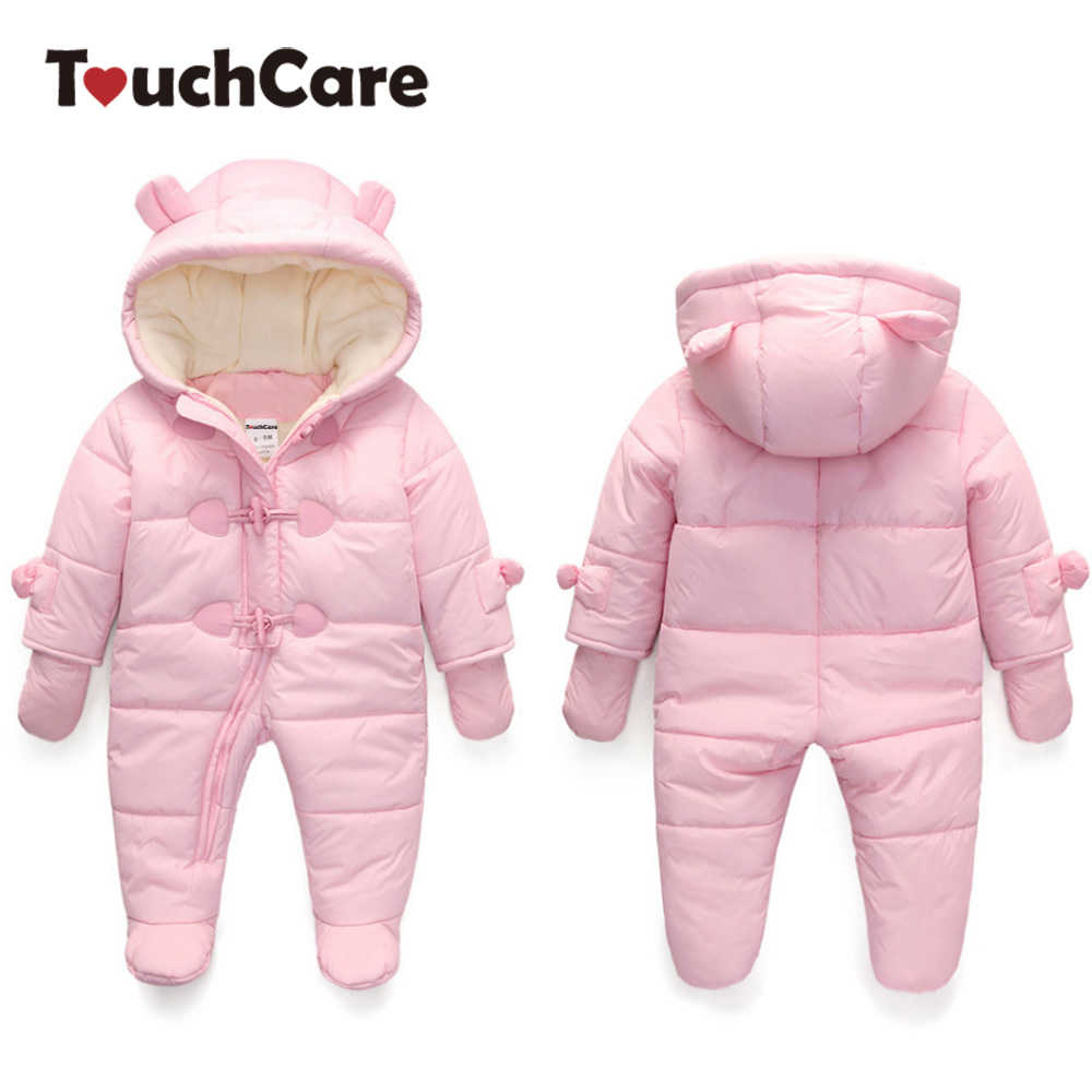 Touchcare 0-24M Baby Fleece Bear Ears Rompers Infant Girls Boys Warm Hooded Jumpsuit Newborn Winter Waterproof Overalls Pajamas