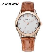Nueva Sinobi Relojes de Moda Mujer de Cuarzo Correa de Cuero Reloj de Pulsera Con Diamantes de Imitación OL Office Lady Reloj de Pulsera Relogio Feminino