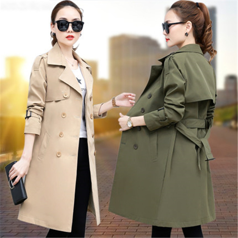 Fashion Large Size Women's Clothing 2019 new Casual Long-sleeved Spring and Autumn Long Double-breasted   Trench   Coats female X639