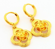 24KE-007  Free Shipping Fashion 24K Yellow Gold Plated Rose Dangle Earrings, Greatbuy21 Mixed Order, Wholesale & Retail цена 2017
