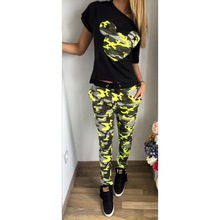 new fashion summer women set short sleeve sexy green camouflage print women vestidos two set