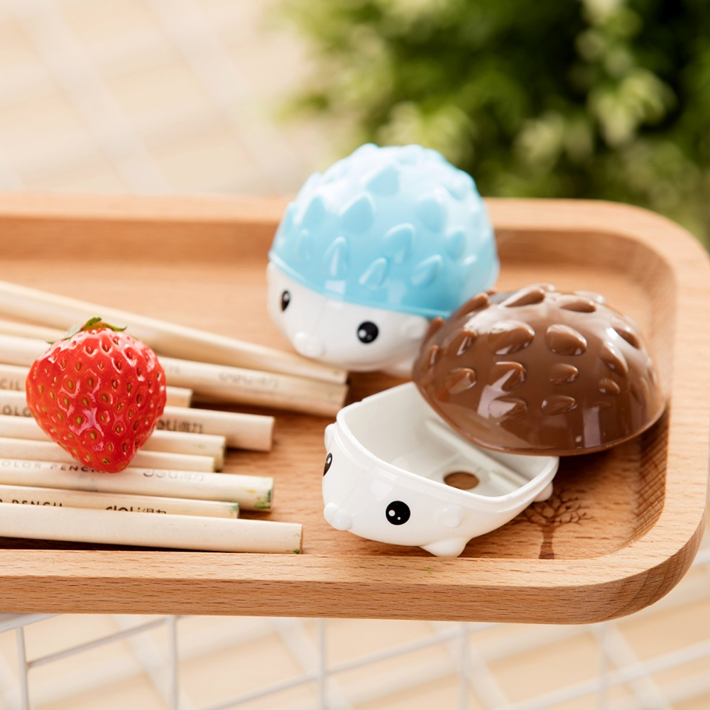 12 Pcs Cartoon Hedgehog Pencil Sharpener Double Holes Students Standard Pencil Cutting M ...