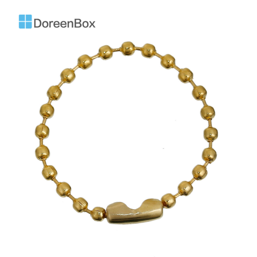 Doreen Box Lovely Gold Color DIY Connector Clasp Ball Chains Keychain Tag 9cm,50PCs