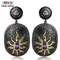 DC1989 Free Shipping New Look Elegant Ethnic Sun Pattern Black Gold Plated Cubic Zirconia Drop Earrings