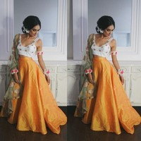 India Saree Taffeta Long Skirts For Women Puffy Floor Length Bal Gowns Feamle Maxi Skirt Zipper Boho Faldas Saia Orange