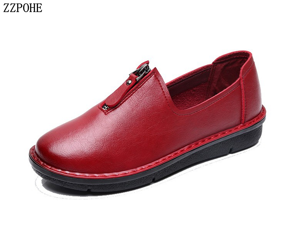ZZPOHE Women Shoes 2018 Genuine Leather Women Flats Casual Shoes Women's Slip On Comfortable Plus Size Work Shoes Ladies Shoes