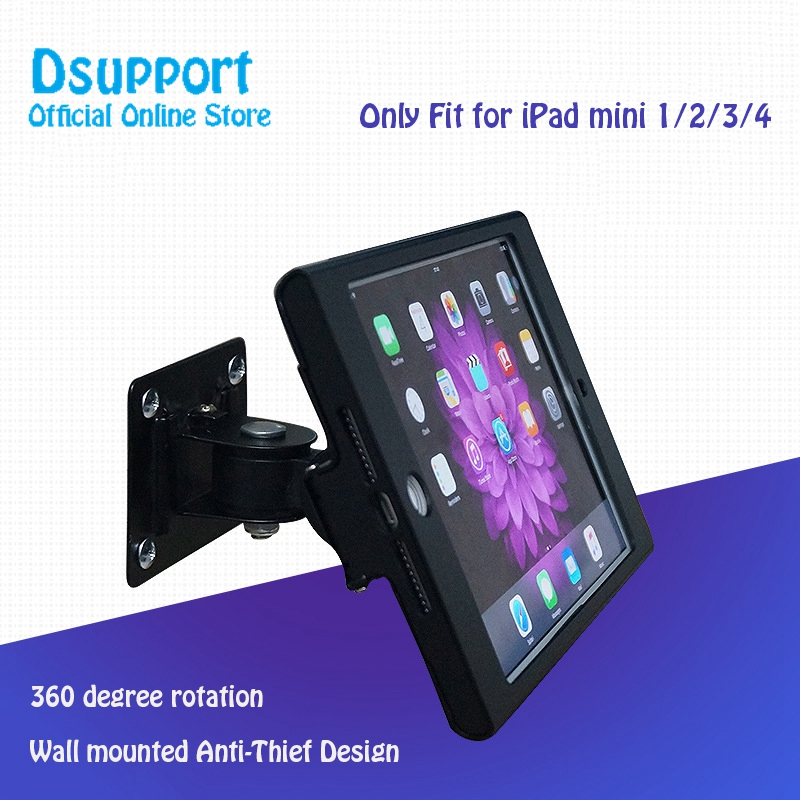 Full rotation Fit for iPad mini1 2 3 4 wall mount stand metal case display retail bracket tablet pc holder support anti-thief fit for ipad mini1 2 3 4 wall mount aluminum metal case bracket security desktop support for ipad mini holder for tablet