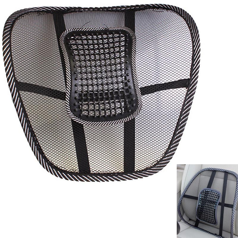 back support massager Car Seat Office Chair Massage Back Lumbar Support Mesh Ventilate Cushion Pad Black high big size