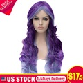Long Wavy Purple Ombre Synthetic Lace Front Wig Curly Heat Resistant US STOCK