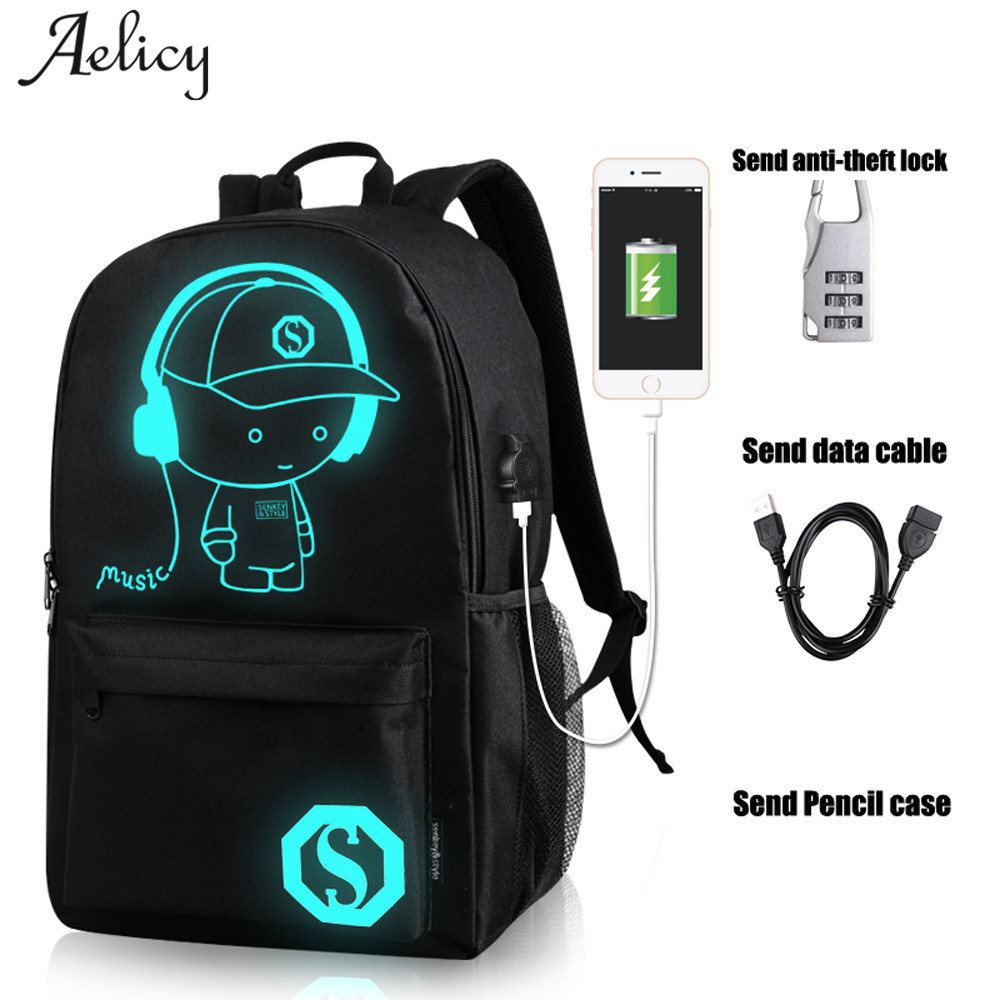 Aelicy School Backpack Student Luminous Animation School Bags For Teenager Usb Charge Computer Anti-theft Laptop Backpack Bag