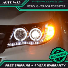Free shipping ! Car styling LED HID Rio LED headlights Head Lamp case for Forester headlights 2009-2012 Bi-Xenon Lens low beam(China)