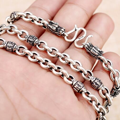 100% 925 argent tibétain Six mots proverbe collier Sterling tibétain Dragon collier puissance Dragon collier homme bijoux cadeau