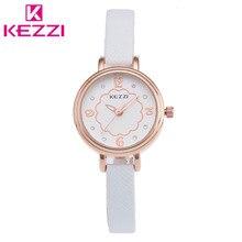 K-850 KEZZI Marca Moda Delgado Cinturón de Cuero Mujeres Reloj Chicas Casual Reloj de Cuarzo Relogio Feminino Regalo KZ31