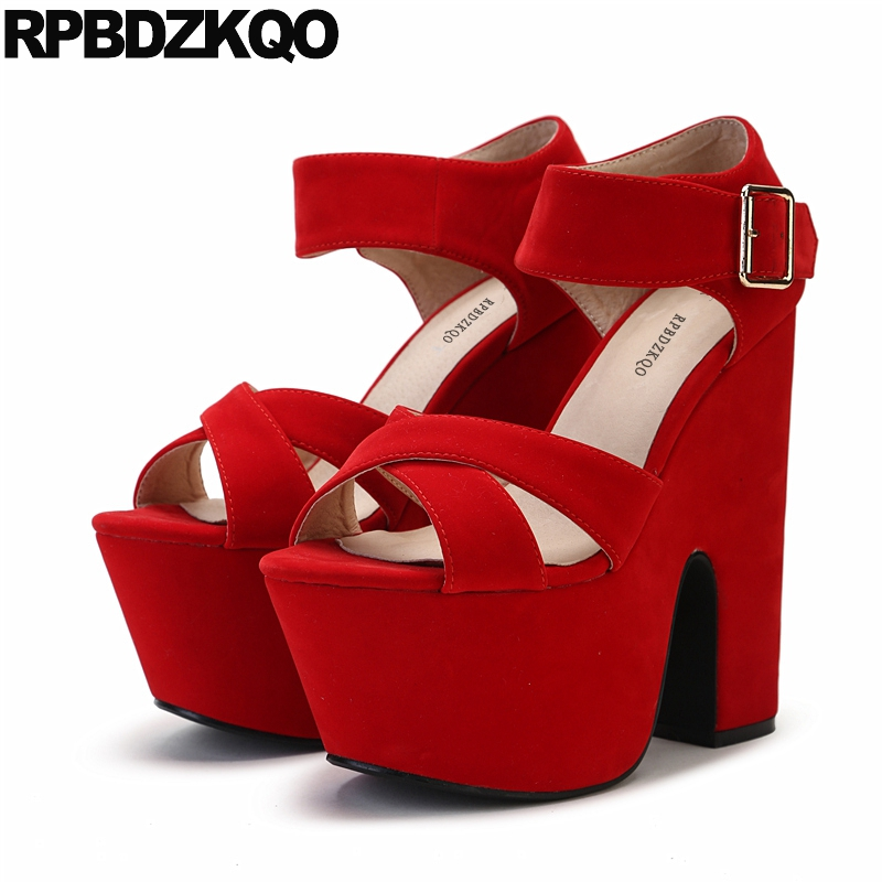 fetish ankle strap gothic red sandals
