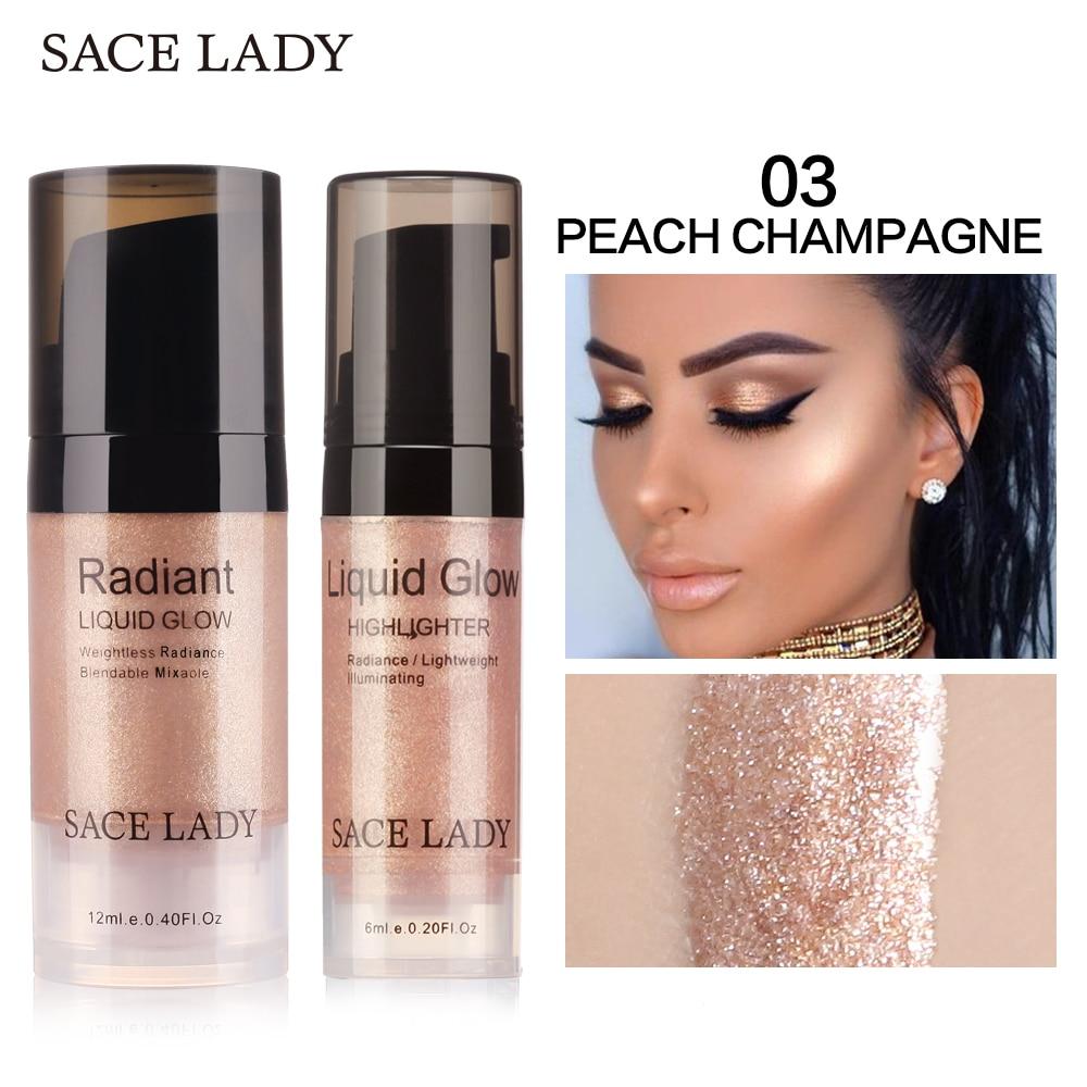 SACE LADY Face Highlighter Cream Liquid Illuminator Makeup Shimmer Glow Kit Make Up Facial Brighten Shine Brand Cosmetic
