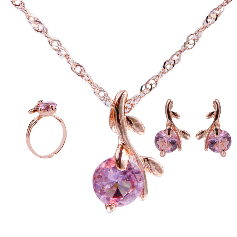 Elegant Gold Color Austrian Crystal Jewelry Set Pendants Necklaces Earrings Ring Rhinestone Bridal Jewelry Sets For Women