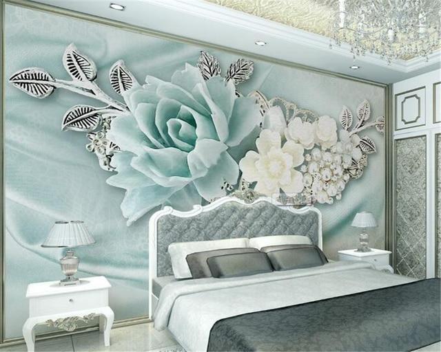 Beibehang A Modern Stereo Relief Mint Biru Bunga Lukisan Dinding Ruang Tamu R Tidur Tv Latar