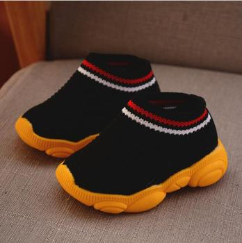2019 new spring bear shoes female baby soft bottom socks stripe boy sleeve toddler shoes 1
