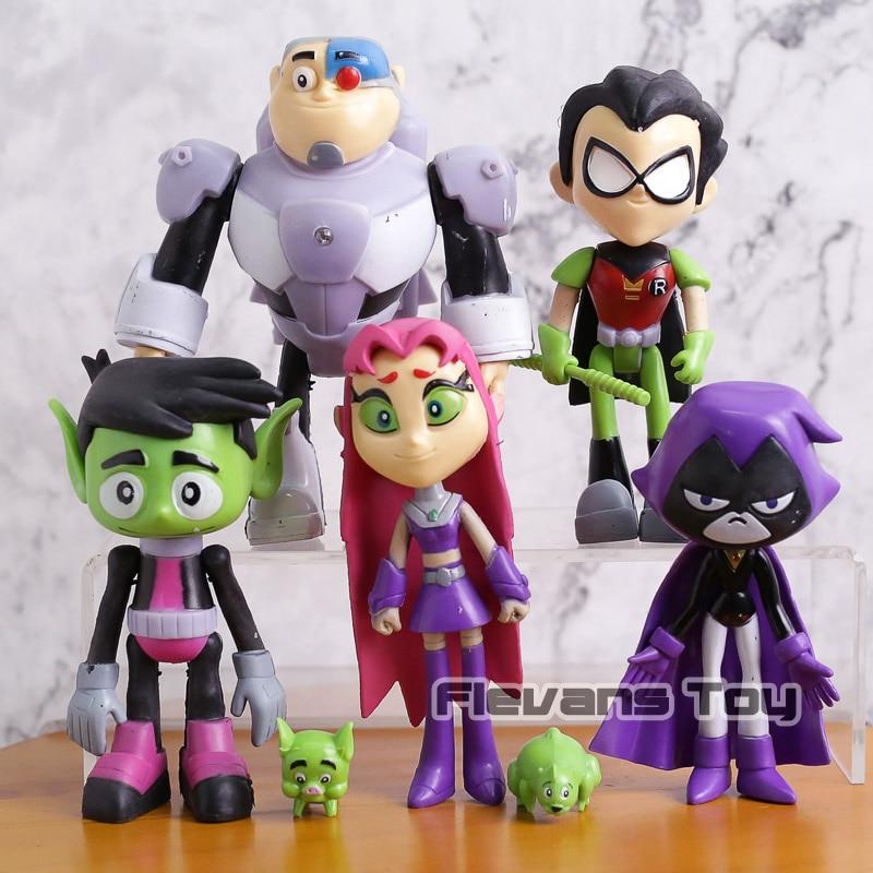 Details about 7Pcs/Set Teen Titans Go Robin Cyborg Beast Boy Starfire Raven  Silkie Figure Toys