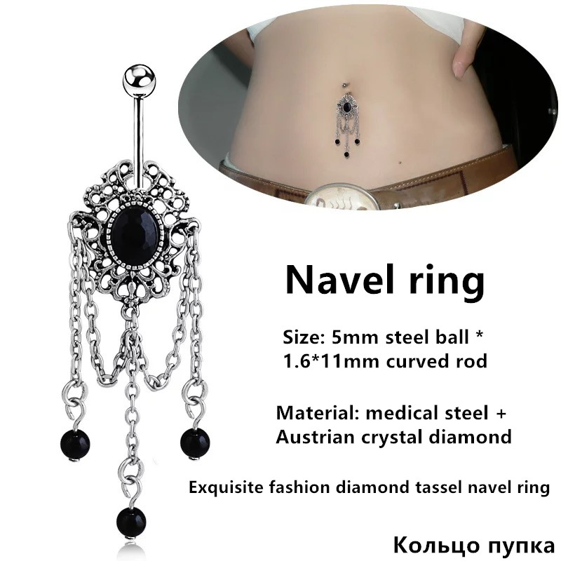 5/Pieces Human Body Piercing Navel Ring, Exquisite Fashion Diamond Tassel Oval Hypoallergenic Thick Needle Belly Button