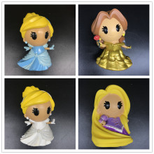 лучшая цена BELLE Princess /Rapunzel Princess Cinderella Q version Figure doll model Toy Vinyl Action Figures Collectible Model Toy