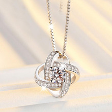 Luxury 925 Sterling Silver Crystal Necklaces Pendant Hot Sal