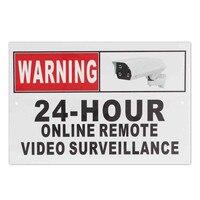24 часа онлайн дистанционного видеонаблюдения безопасности CCTV камера металлический знак наклейка