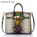 FoxTail & Lily Fashion Serpentine Bags Women Genuine Leather Shoulder Crossbody Bags Famous Designer Luxury Platinum Handbags