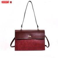 Ретро большая сумка новые кожаные женский портфель простой дикий замок хозяйственные сумки Женский Бизнес плеча курьерские
