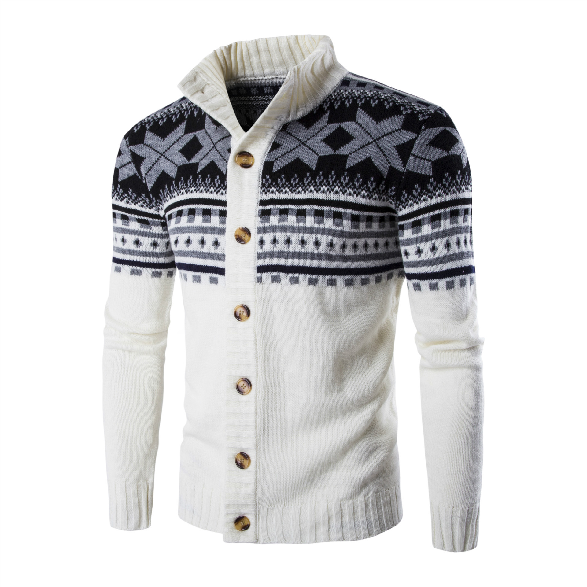 Autumn And Winter New Style Men's Cardigan Sweater European And American Fashion Cultural Printed Slim Fit Men's Sweaters