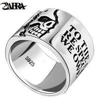 ZABRA Solid Pure 925 Sterling Silver Wide 14mm Skull Motto Fashion Rings For Men Women Vintage Retro Wedding Engagement Jewelry