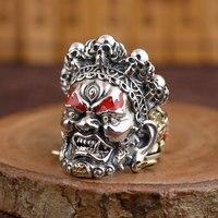 925 Zilveren Schedel Ring Punk Skelet 100% Real S925 Sterling Zilveren Ringen voor Mannen Sieraden Mannelijke Verstelbare Size