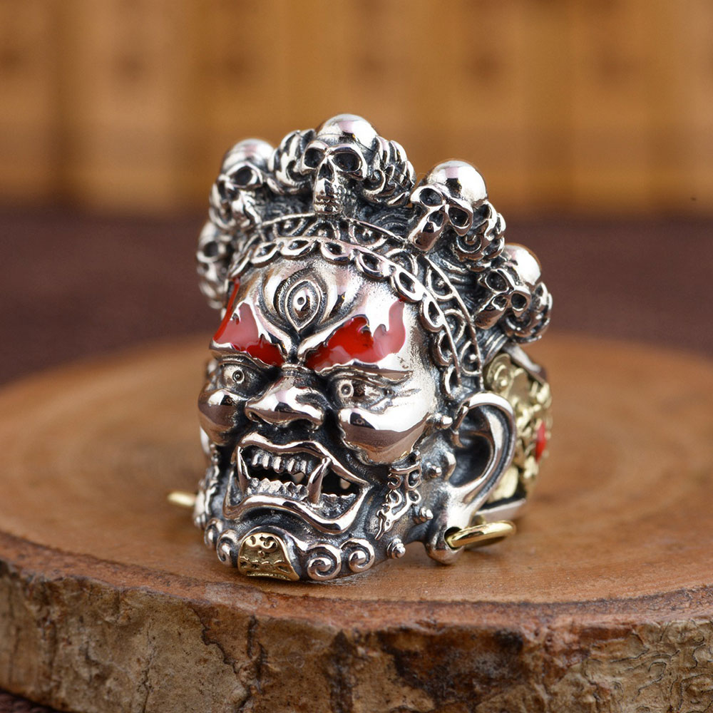 925 argent crâne anneau Punk squelette 100% réel S925 argent Sterling anneaux pour hommes bijoux mâle taille réglable