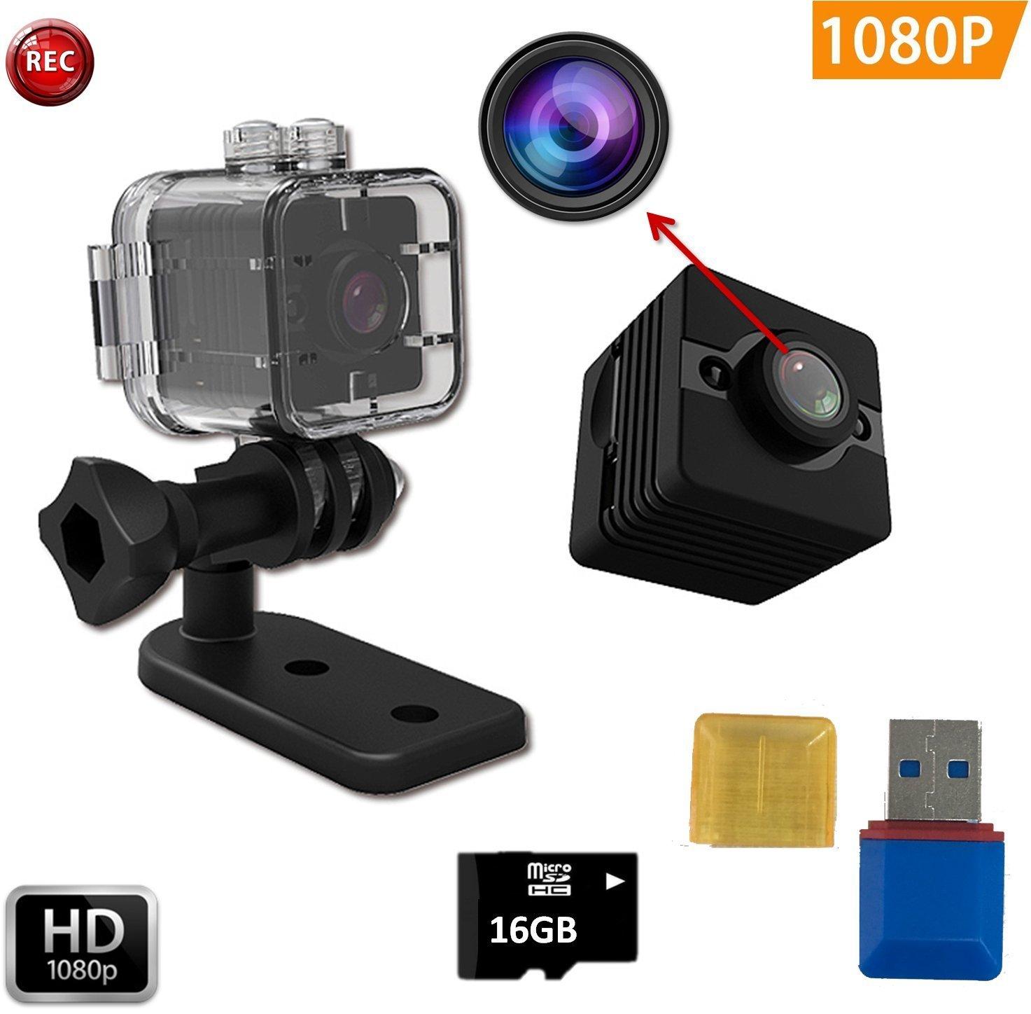 Imperméable à l'eau Mini Caméra SQ12 HD + 16 GB Sport Action Caméra Night Vision Caméscope 1080 P DV Enregistreur Vidéo Infrarouge voiture DVR Caméra