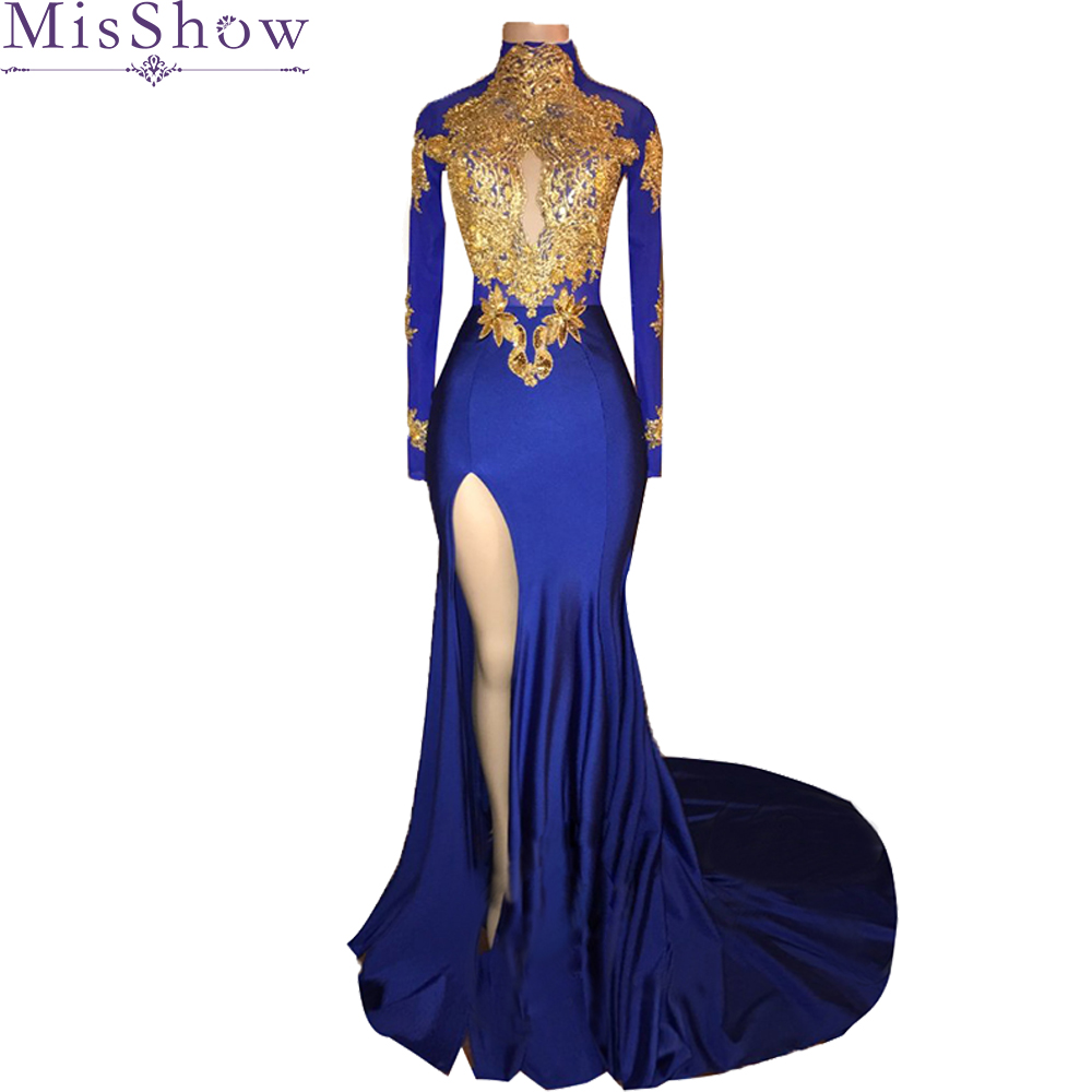 High quality Long Sexy   Prom     Dresses   2019 Mermaid Long Sleeve Applique Illusion back African Royal blue   Prom     Dress   party gowns