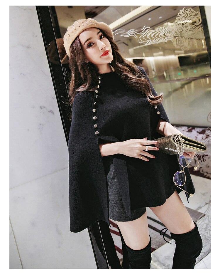 HAMALIEL для женщин Осень Зима Вязаный плащ свободный свитер Подиум черный пончо накидка Двубортный повседневный шаль пуловер Джемпер
