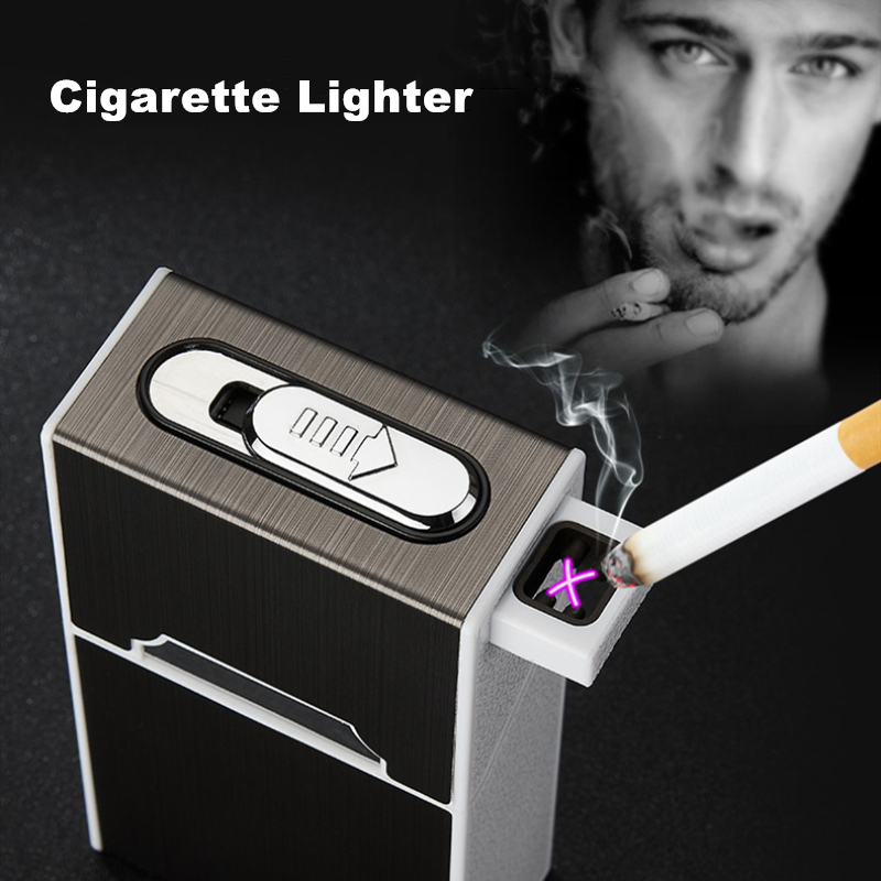 Build-in Dual Arc Electronic Lighter 20pcs Cigarette Box Case Waterproof USB Rechargeable Turbo Cigaret Lighter Plasma Men Gifts