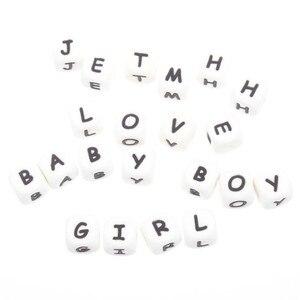 Image 5 - 100 pçs inglês alfabeto letra 12mm silicone cubo mordedor grânulos bpa livre grau alimentício bebê dentição jóias ensino brinquedo de enfermagem