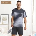 Qianxiu Summer Pijama  Classic Stripe Lounge Wear Short-sleeve pants Male Pajama Set