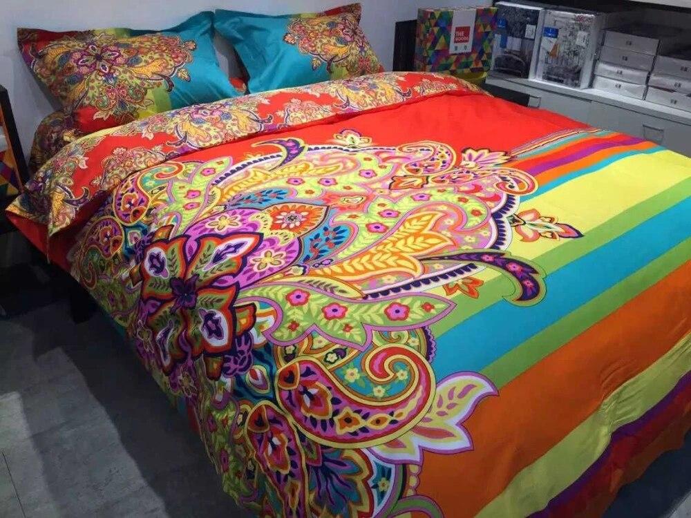Bohemia Boho Designer Bedding Set Colorful Conforter 4pc Bright Color Comforter Sets Peacock Print Juegos De Sabanas Sheets Beddingbedding House Aliexpress