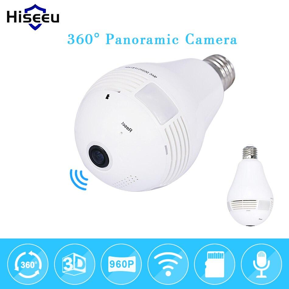 Bulb Light Wireless IP Camera Wi-fi FishEye 960P 360 degree Full View Mini CCTV Camera 1.3MP Home Security WiFi Camera Panoramic vr360 panoramic camera wi fi remote control sports action camera