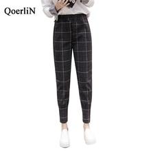 QoerliN European Style Vintage Plaid Harem Pant Women High Elastic Waist Zipper Fashion Pocket Trouser Plus Size S-XXL Work Wear